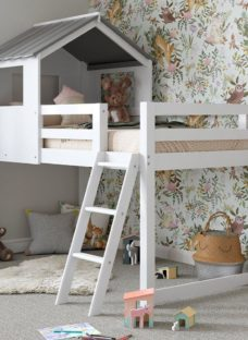White Midsleeper Cabin Bunk Bed