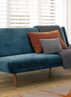 Ellery 3 Seater Velvet Clic-Clac Sofa Bed - Blue