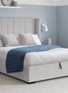 Charlie D Upholstered Ottoman Bed Frame 4'6 Double GREY