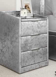 Parmer Bedside Chest SILVER