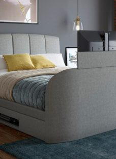 """Seoul Ottoman Bed Frame with 32"""" LED TV 4'6 Double GREY"""