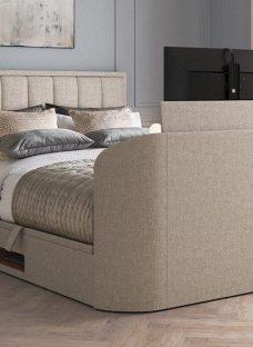 """Osaka Upholstered Ottoman Bed Frame with 32"""" SMART TV 6'0 Super king BEIGE"""