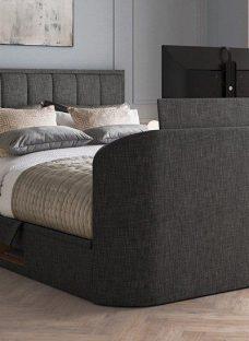 "Osaka Ottoman 43"" 4K TV Bed 4'6 Double GREY"