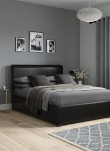 Lawlor Faux Leather Ottoman Bedframe - Black Single