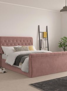 Smithers Blush Pink Fabric Bedframe - Pink Double