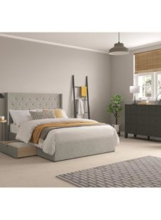 Parsons Fabric Drawer Bedframe - Grey Double